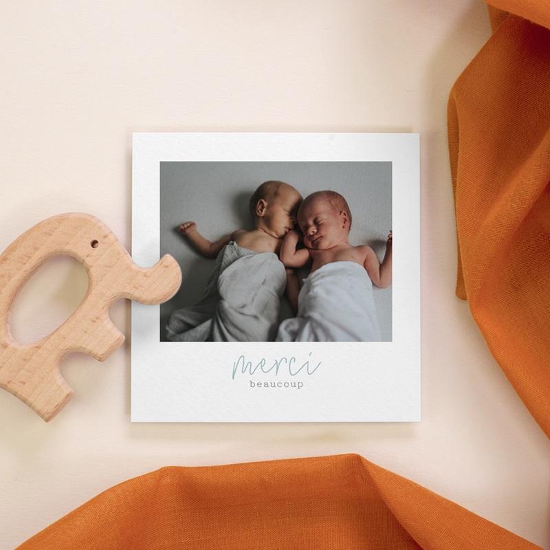 Carte de Remerciement Naissance Jumeaux 10 x 10