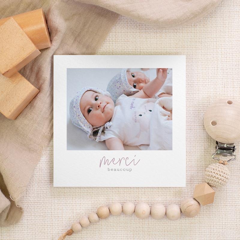 Carte de Remerciement Naissance Jumelles, Typo, 10 x 10 gratuit