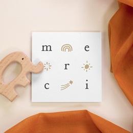 Carte de Remerciement Naissance Lettres d'Amour, Céleste, 10 x 10
