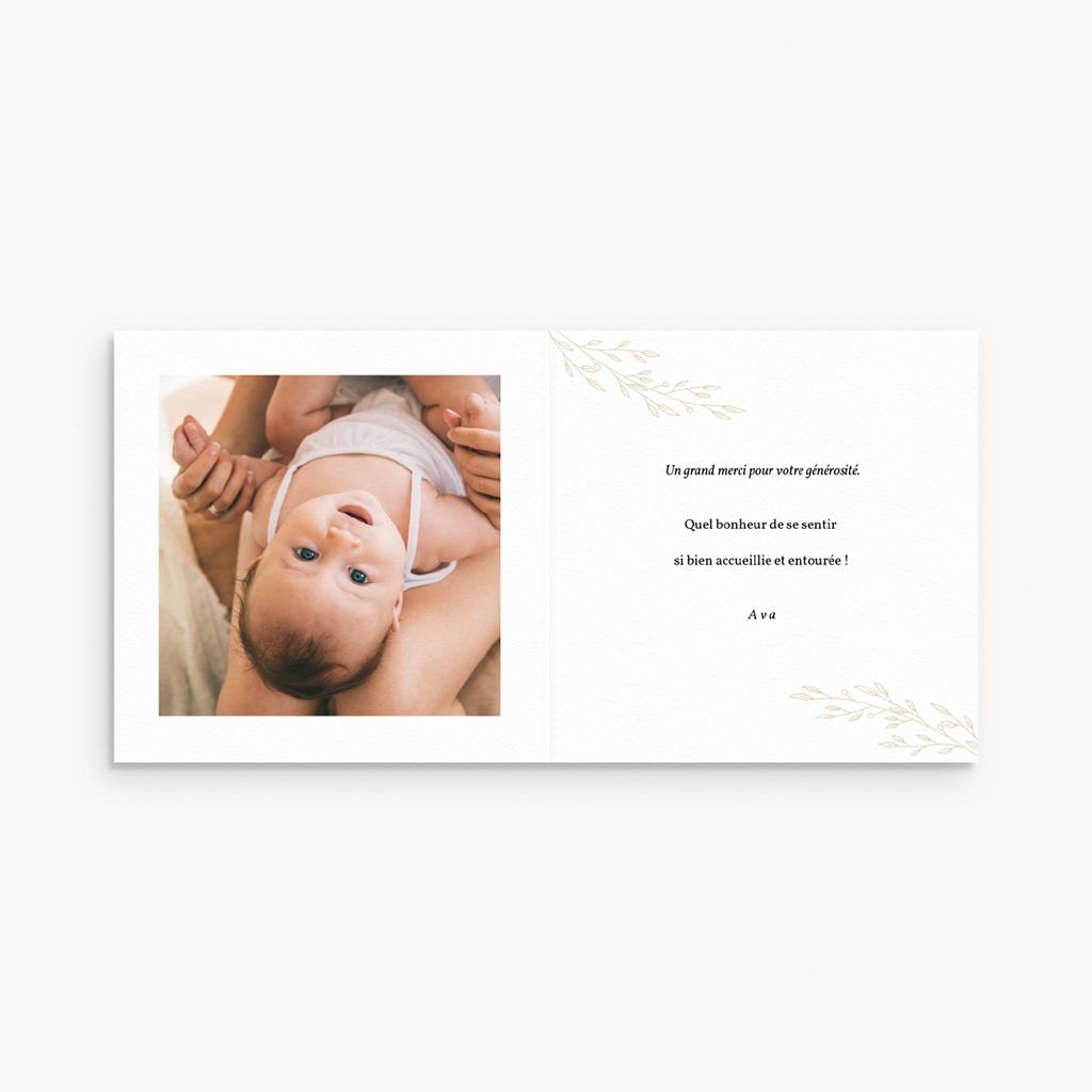Carte de Remerciement Naissance Couronne Dorée Beige, 9,5 x 9,5 pas cher