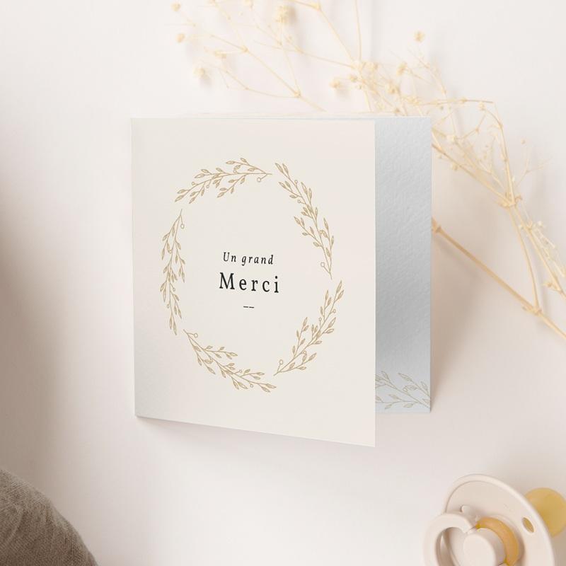 Carte de Remerciement Naissance Couronne Dorée Beige, 9,5 x 9,5 gratuit