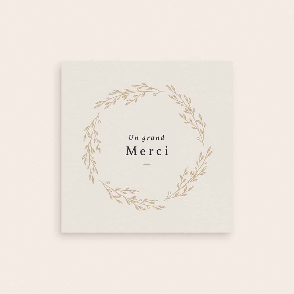 Carte de Remerciement Naissance Couronne Dorée Beige, 9,5 x 9,5