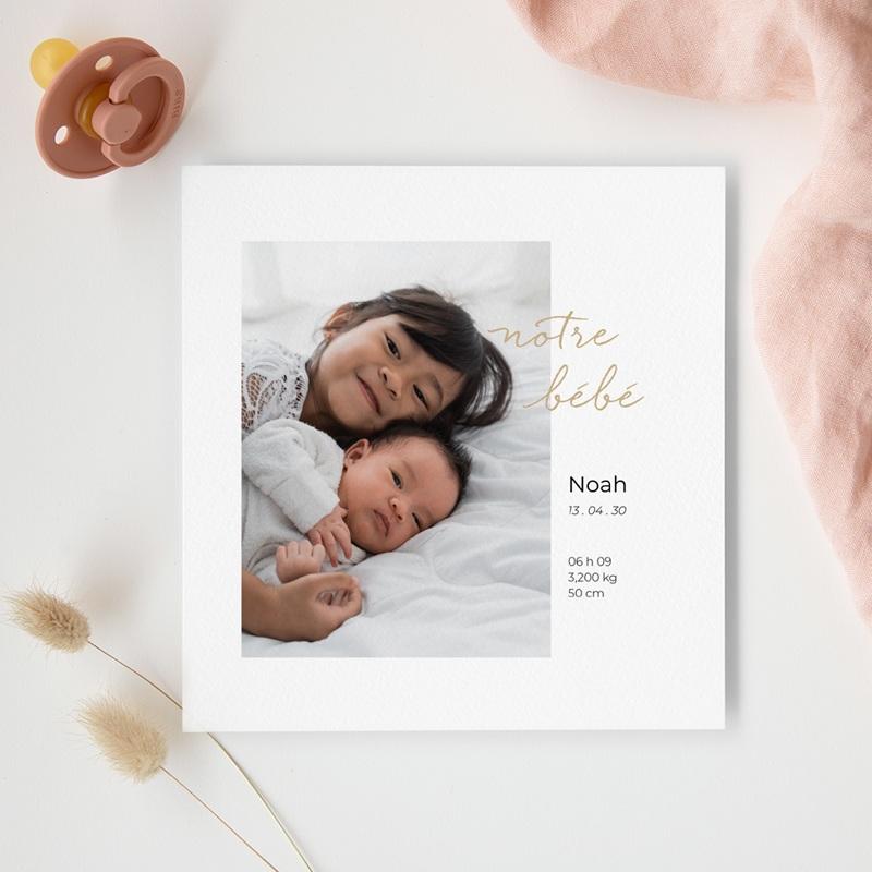 Faire-part de Naissance Notre bébé, dorure, 14 x 14,5 cm gratuit