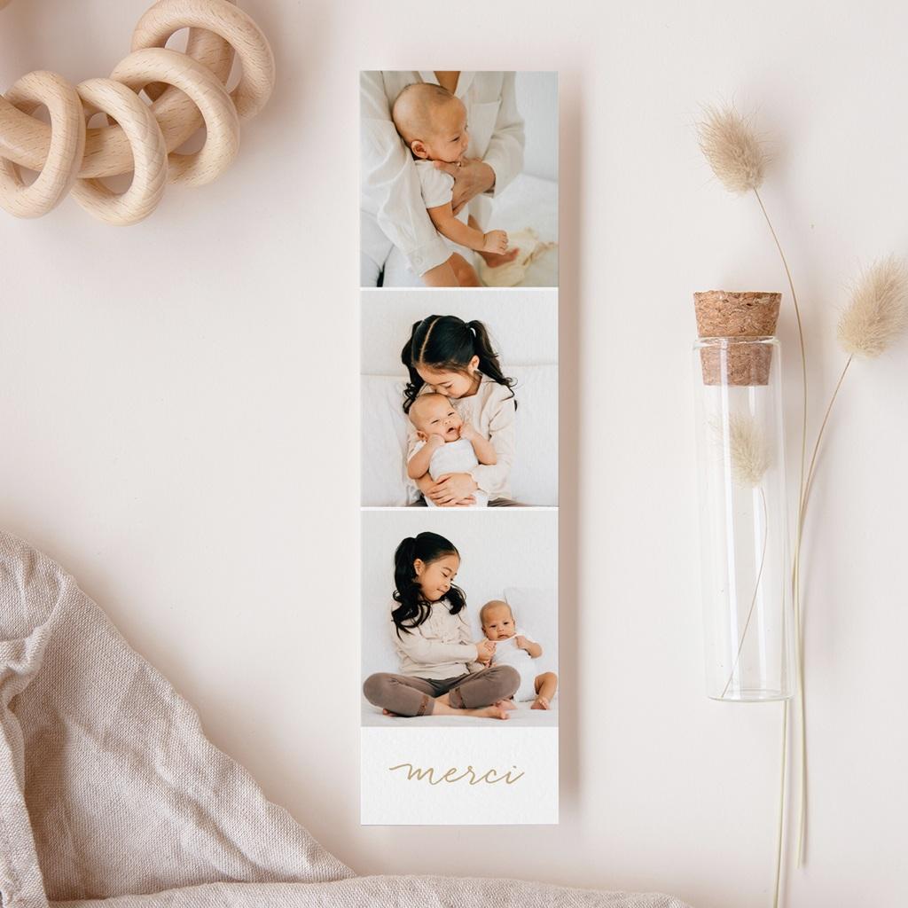 Carte de Remerciement Naissance Notre bébé, dorure, 3 photos gratuit