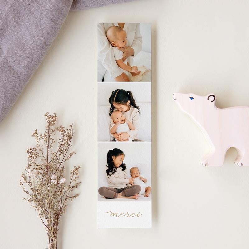 Carte de Remerciement Naissance Notre bébé, dorure, 3 photos