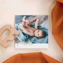 Carte de Remerciement Naissance Notre petit, Dorure