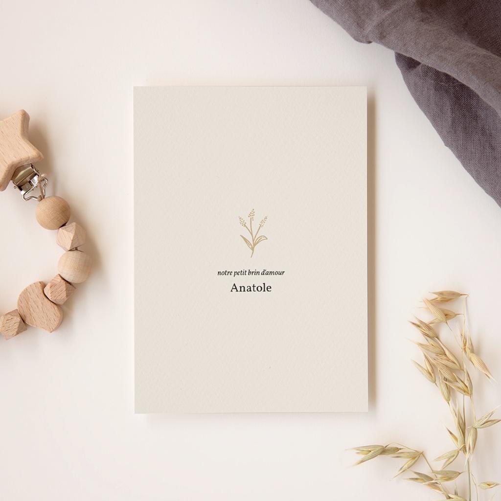 Faire-part de Naissance Brin minimaliste doré, Photo gratuit