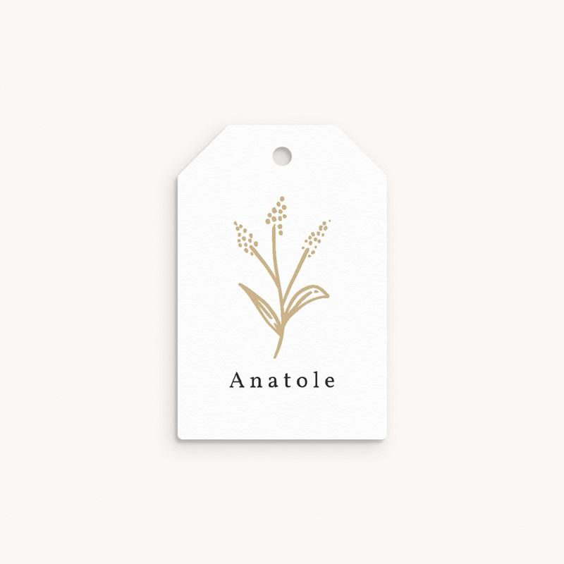Etiquettes Cadeau Naissance Brin minimaliste doré, Photo