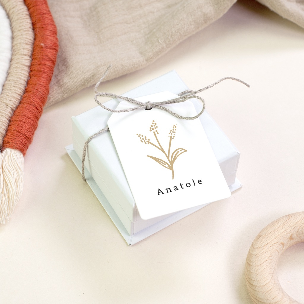 Etiquettes Cadeau Naissance Brin minimaliste doré, Photo gratuit