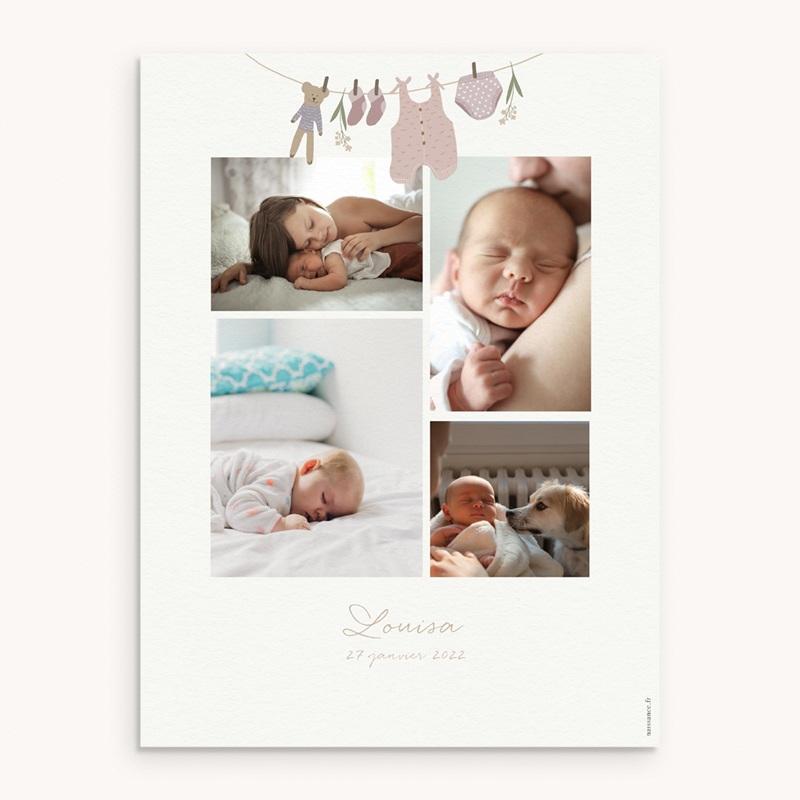 Affiche Déco Chambre Enfant Fil à linge fille, 30 x 40 cm