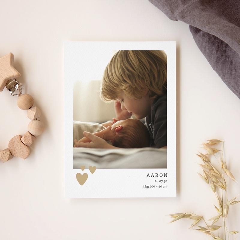 Faire-part de Naissance Coeur minimaliste, Beige & Dorure gratuit
