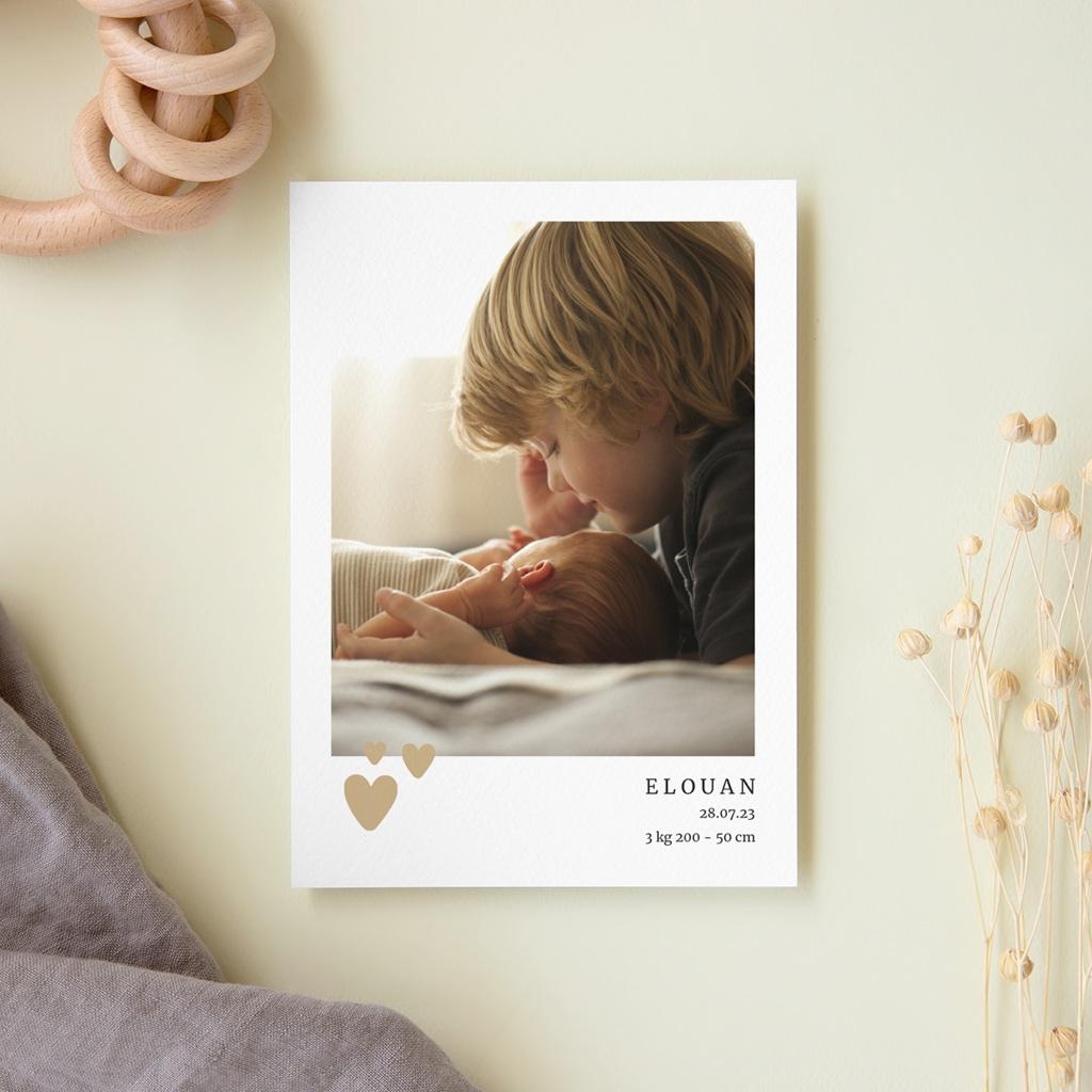 Faire-part de Naissance Coeur minimaliste, Beige & Dorure