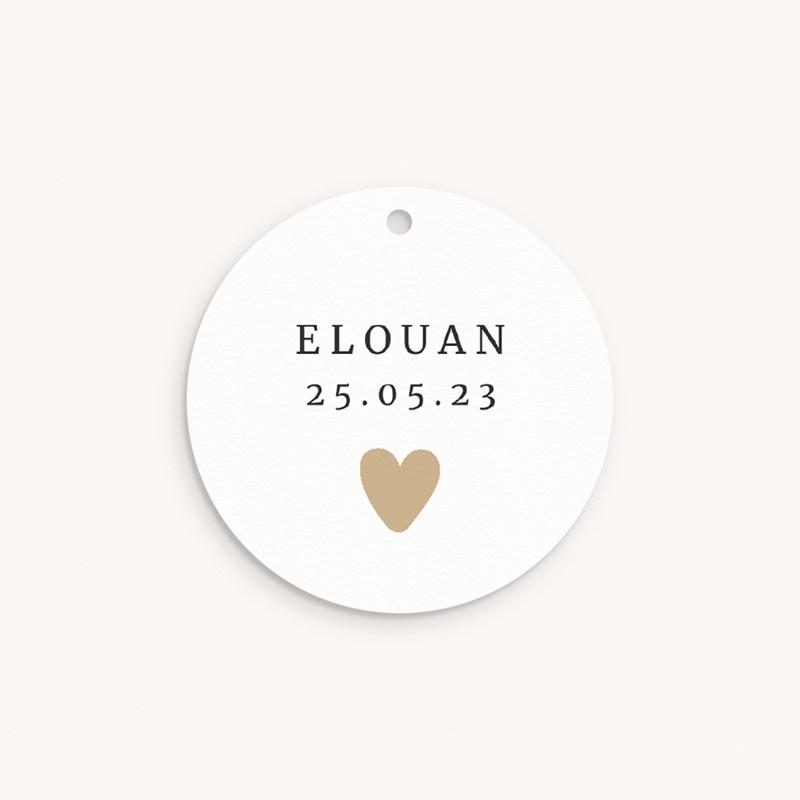 Etiquettes Cadeau Naissance Coeur minimaliste, Photo & Dorure