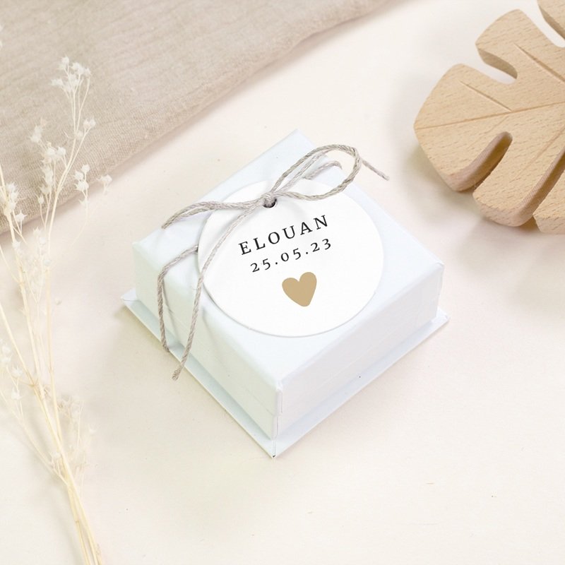 Etiquettes Cadeau Naissance Coeur minimaliste, Photo & Dorure gratuit