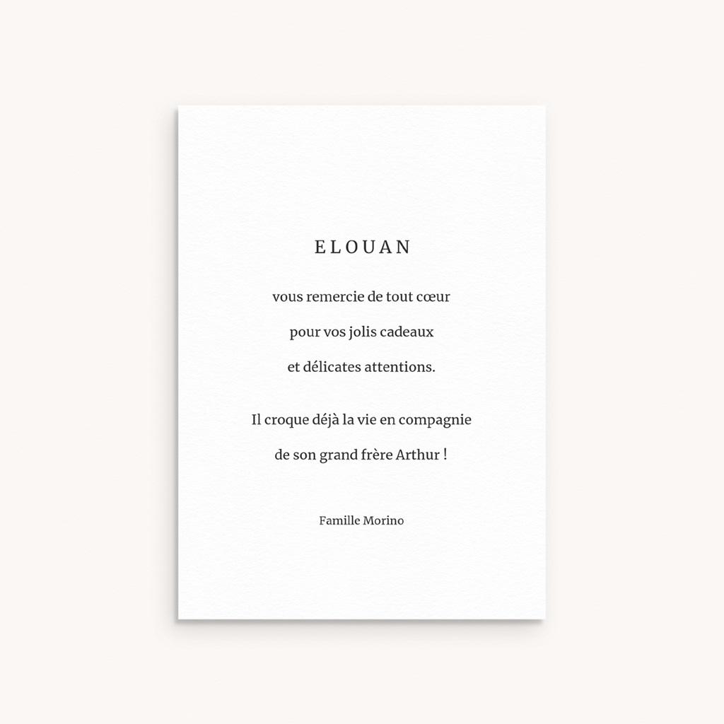 Carte de Remerciement Naissance Coeur minimaliste & Dorure pas cher