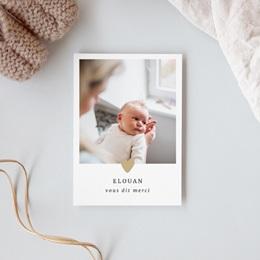 Carte de Remerciement Naissance Coeur minimaliste & Dorure gratuit