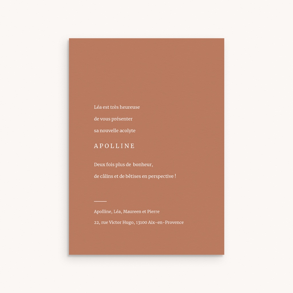 Faire-part de Naissance Etoile minimaliste, Terracotta & Dorure pas cher