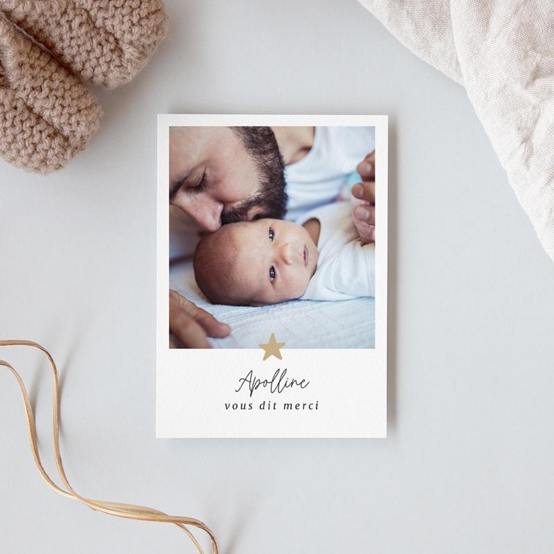 Carte de Remerciement Naissance Etoile minimaliste, Dorure, 10 x 14 cm gratuit