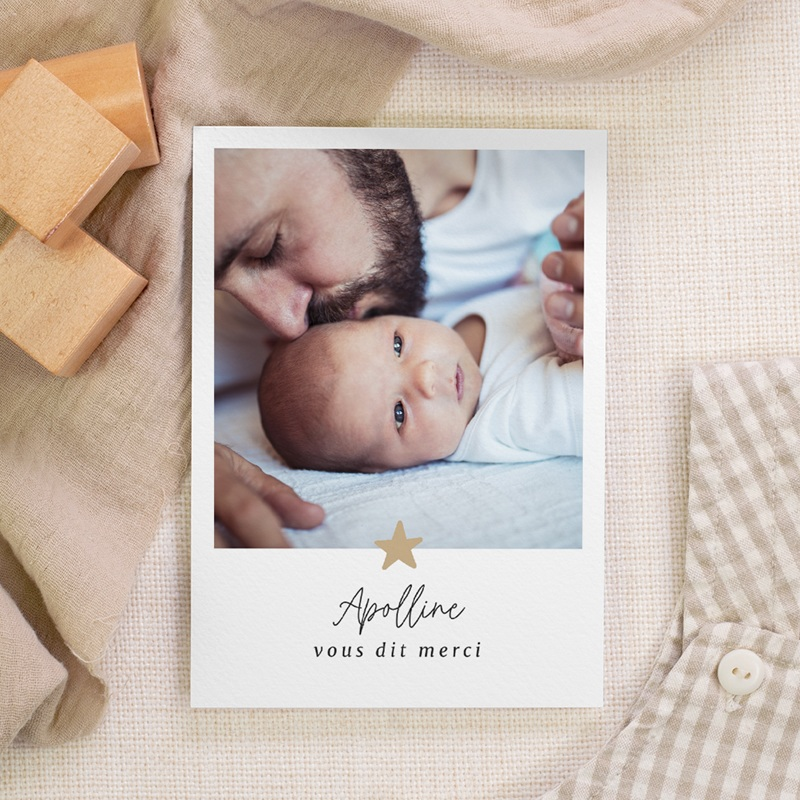 Carte de Remerciement Naissance Etoile minimaliste, Dorure, 10 x 14 cm