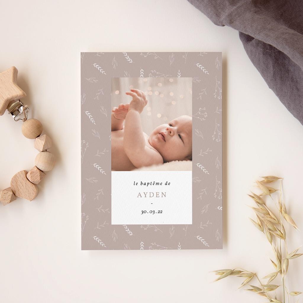 Faire-part de Baptême Champêtre Nude, 12 x 16,7 cm gratuit
