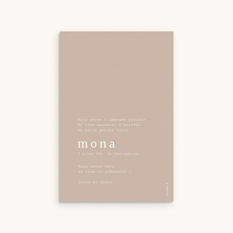 Faire-part de Naissance Mona Nude, 10 x 15 cm pas cher