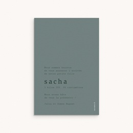 Faire-part de Naissance Sacha Bronze, 10 x 15 cm pas cher