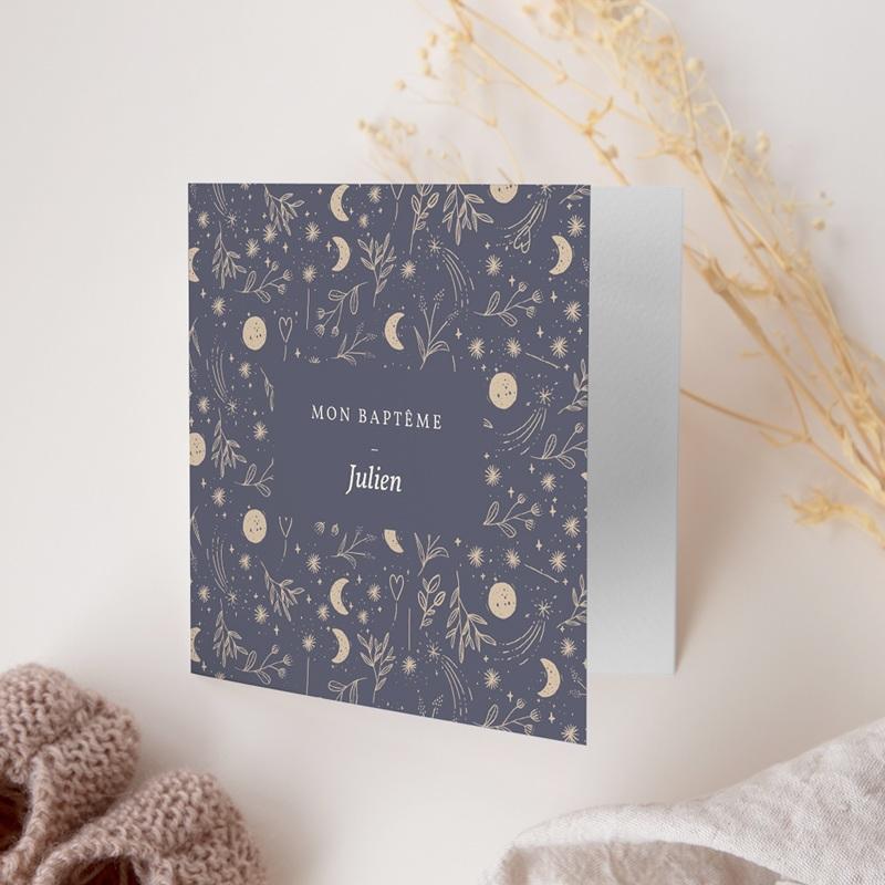 Faire-part de Baptême Hymne à la nature, bleu, 2 volets gratuit