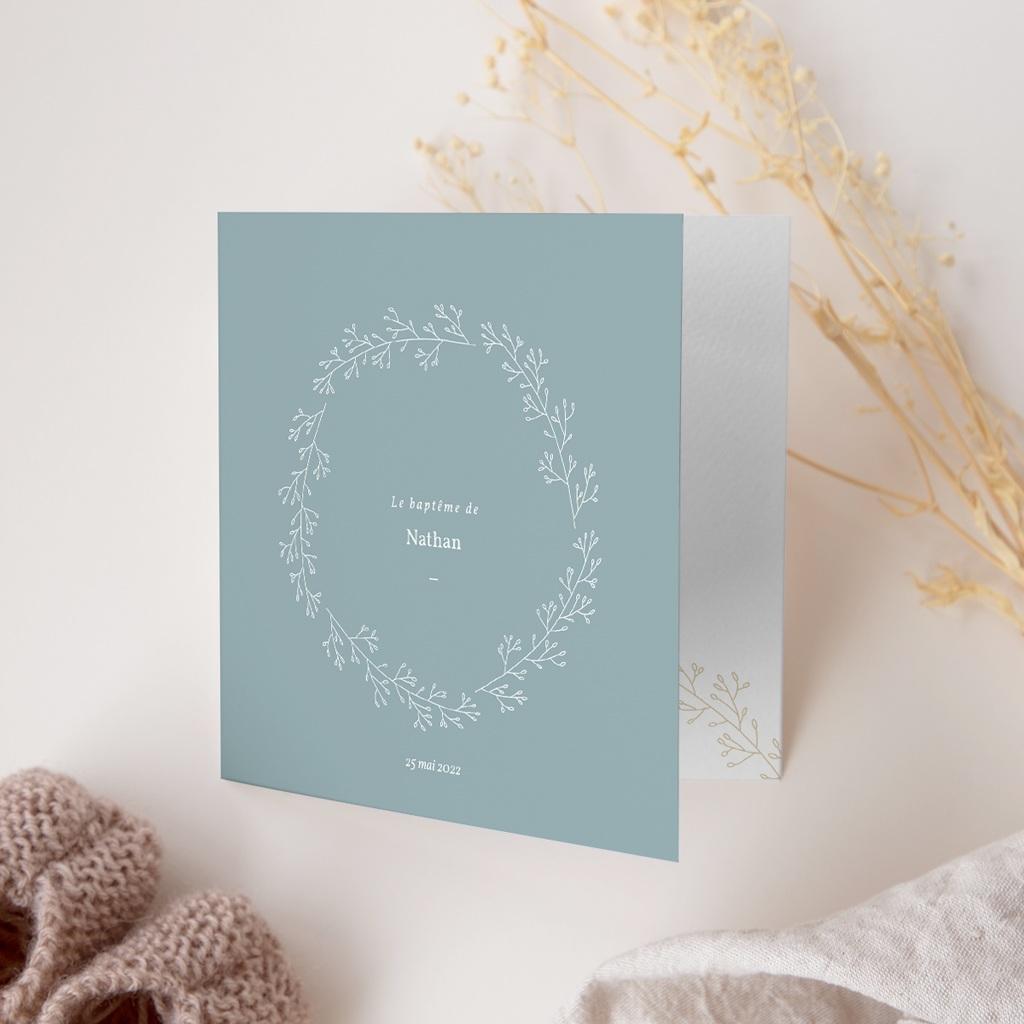 Faire-part de Baptême Couronne Florale, Bleu Vintage gratuit