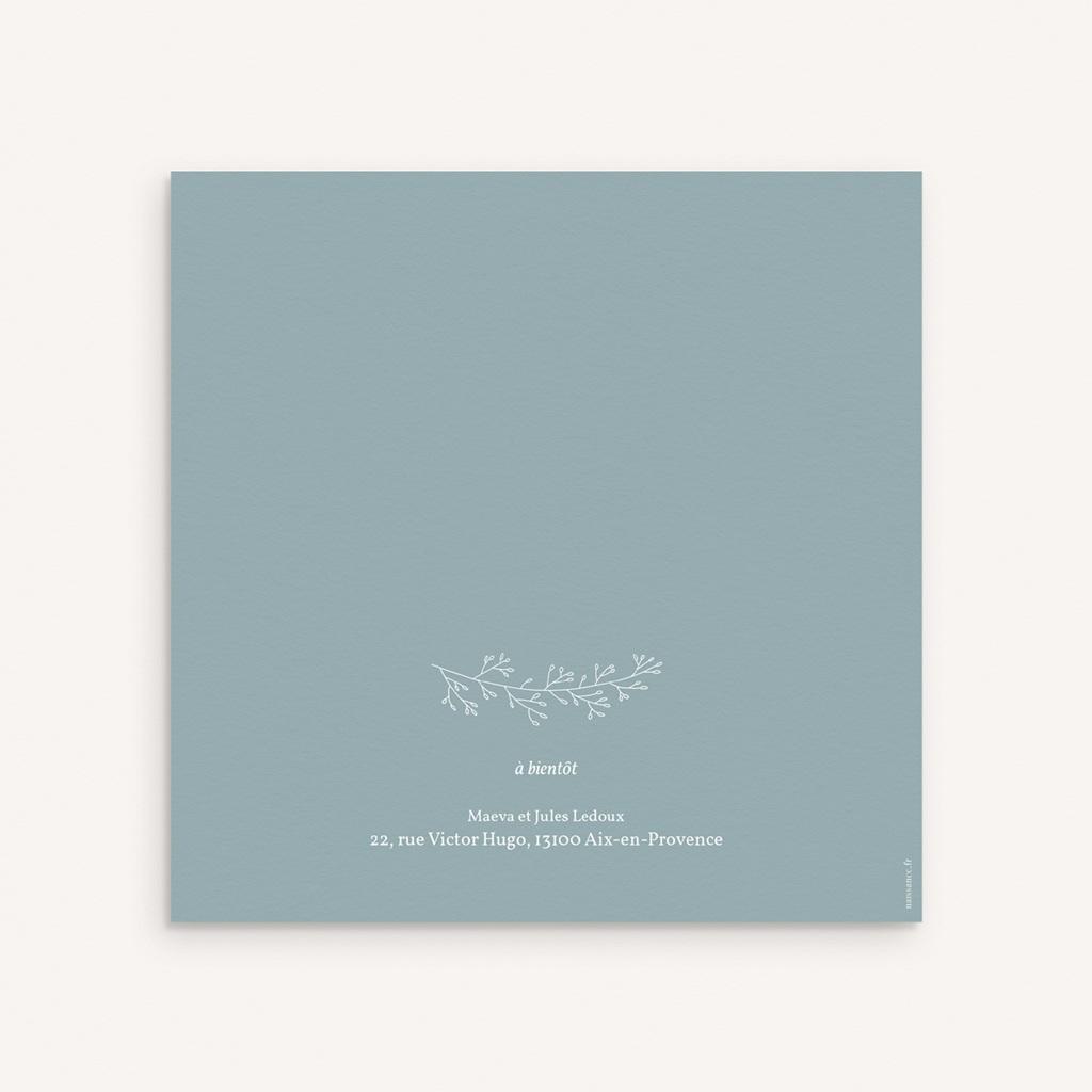 Faire-part de Baptême Couronne Florale, Bleu Vintage