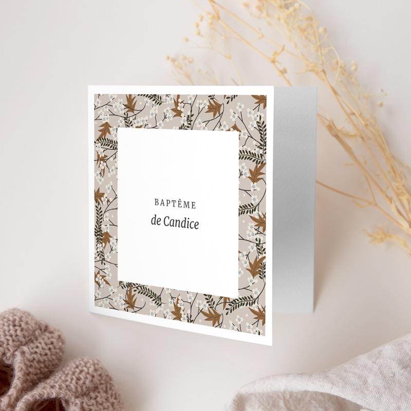 Faire-part de Baptême Floraison Cerisier, 14 x 14 cm gratuit