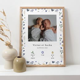 Affiche Déco Chambre Enfant Double Floraison, Jumeaux, 30 x 40 pas cher