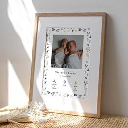 Affiche Déco Chambre Enfant Double Floraison, Jumeaux, 30 x 40