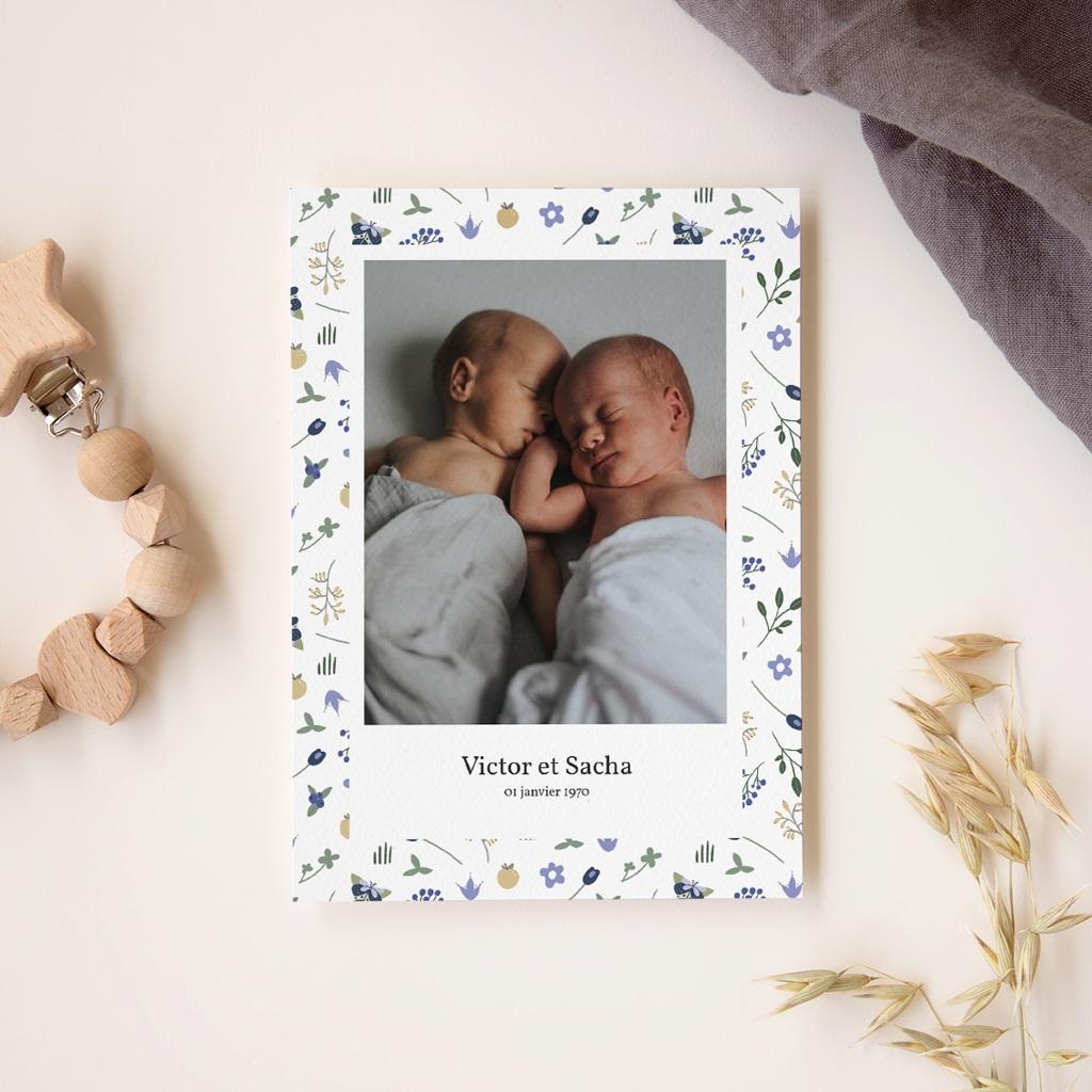 Faire-part de Naissance Double Floraison, Jumeaux, 12 x 16,7 cm gratuit