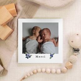 Carte de Remerciement Naissance Double Floraison, Jumeaux gratuit