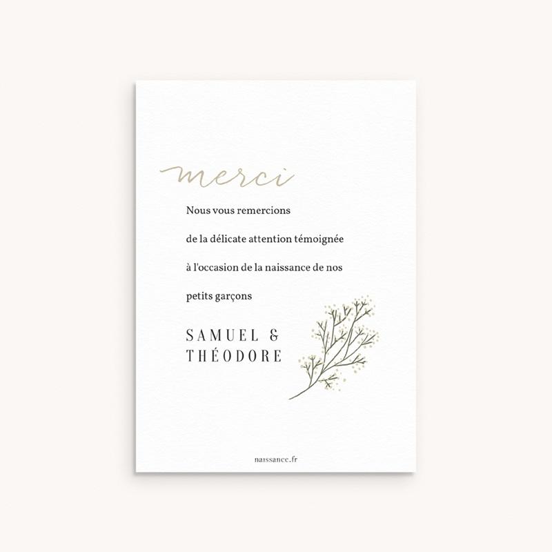 Carte de Remerciement Naissance Deux brins d'Amour, 10 x 14 cm pas cher