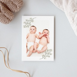 Carte de Remerciement Naissance Deux brins d'Amour, 10 x 14 cm