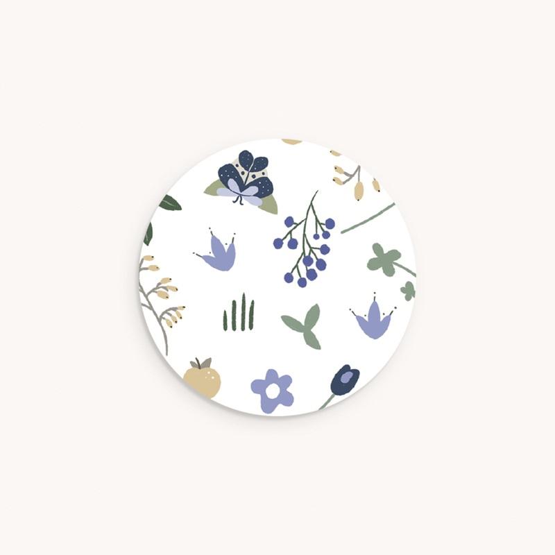 Sticker Enveloppe Naissance Double Floraison, 4,5 cm