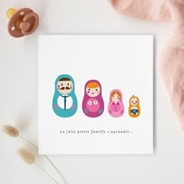 Faire-part de Naissance Famille grande Soeur, poupées russes gratuit