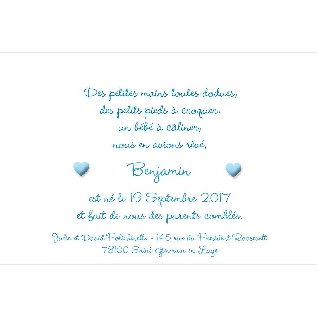 Faire-part de Naissance Pictos bleu