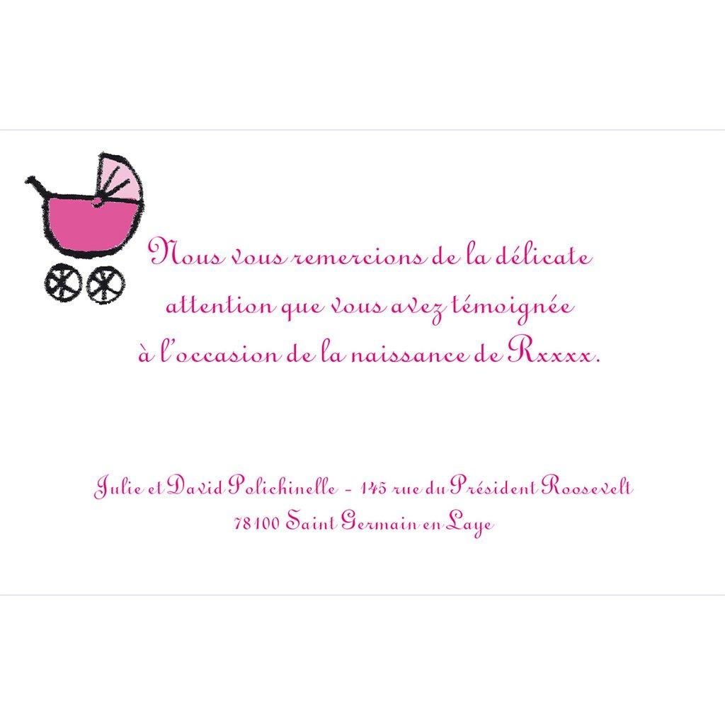Carte de Remerciement Naissance Gribouille fille grande sœur pas cher
