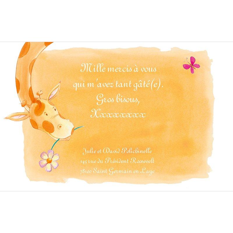 Carte de Remerciement Naissance Girafe pas cher