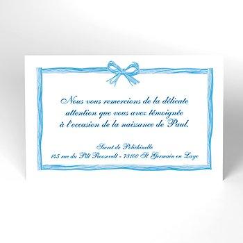 Carte de Remerciement Naissance Raphia Pastel bleu original