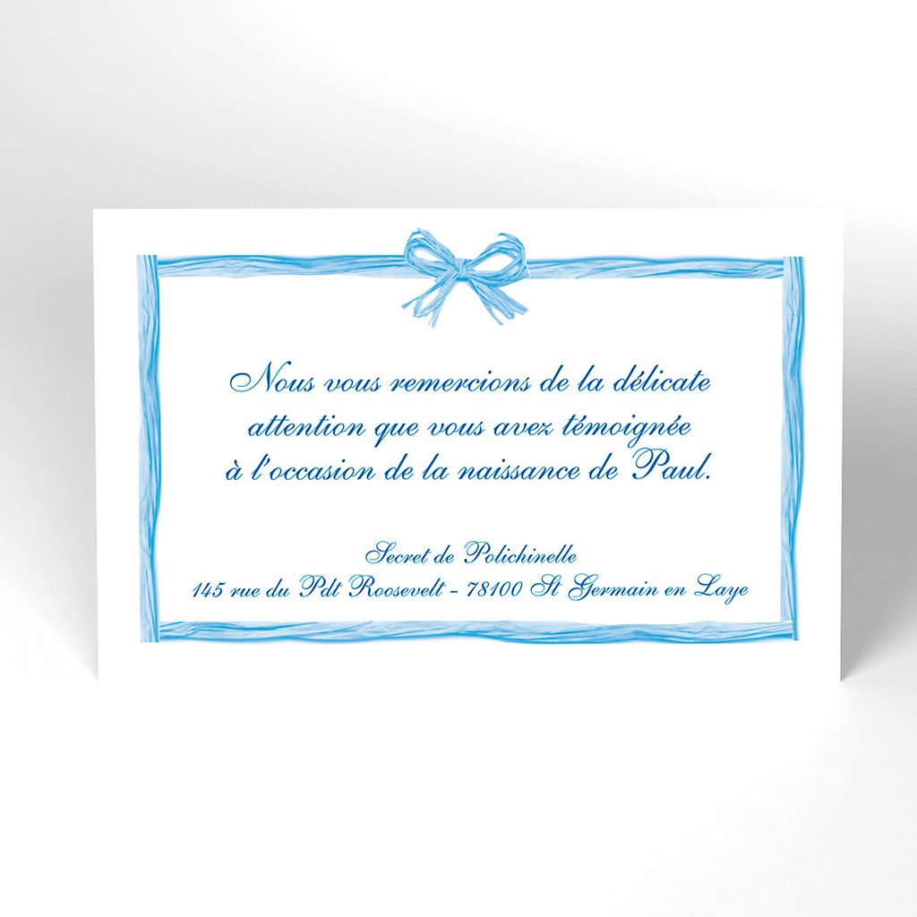 Carte de Remerciement Naissance Raphia Pastel bleu