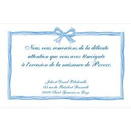 Carte de Remerciement Naissance Raphia Pastel bleu pas cher