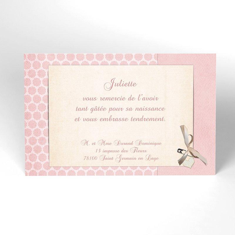 Carte de Remerciement Naissance Macaron rose