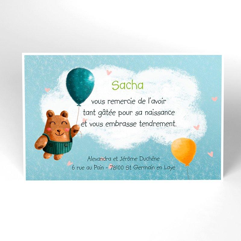 Carte de Remerciement Naissance Bienvenue bébé garçon