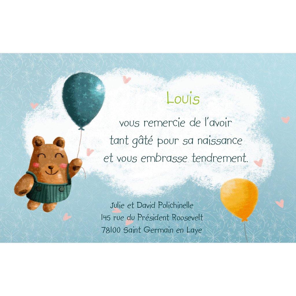 Carte de Remerciement Naissance Bienvenue bébé garçon pas cher