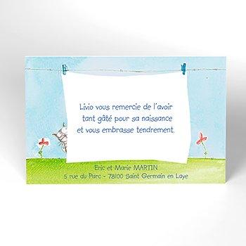Carte de Remerciement Naissance La Corde à Linge