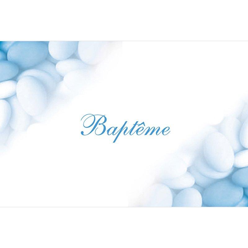 Faire-part de Baptême Dragées bleu pas cher