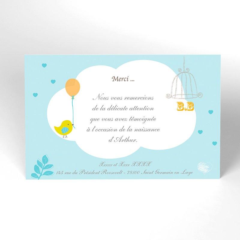 Carte de Remerciement Naissance Sucre d'Orge bleu